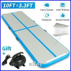10FT Inflatable Airtrack Gymnastics Tumbling Mat Training Home Gym with Pump Blue