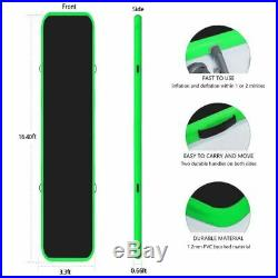 16ft Inflatable Gymnastics Air Track Tumbling Mat with Pump Green-Black