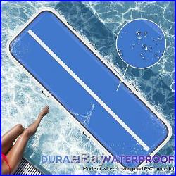 20 Air Track Floor Inflatable Balance Gymnastics Mat Electric Pump Blue Tumbling