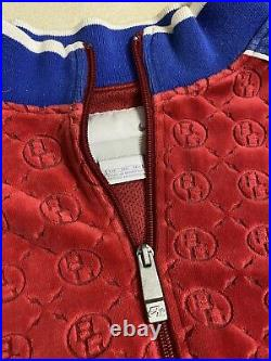 Nike Air GRAIL Red Blue Velour Embossed Monogram Designer Track Suit Sz 2XL XXL
