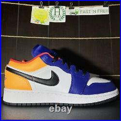 Nike Air Jordan 1 Low White Track Red Blue Yellow GS Retro 553560-123 SIZE 7 Y