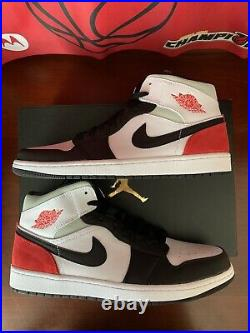 Nike Air Jordan 1 Mid SE Union Black Toe Track Red White Sz 12.5 (852542-100) DS