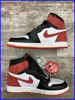 Nike Air Jordan 1 Retro High OG Track Red White Black Suede 555088-112 Size 12