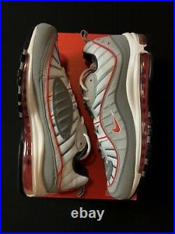 Nike Air Max 98 Particle Grey Track Red CI3693-001 Mens 9.5-11.5