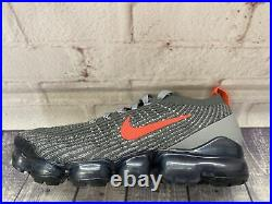 Nike Air Vapormax Flyknit 3 Grey Track Red Run Shoes CT1270-001 Mens Size 9