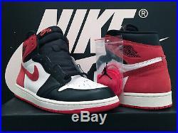 Vtg 2018 Nike Air Jordan 1 Retro High Og Uk10 Eu45 Track Red Black Toe Bred Rare